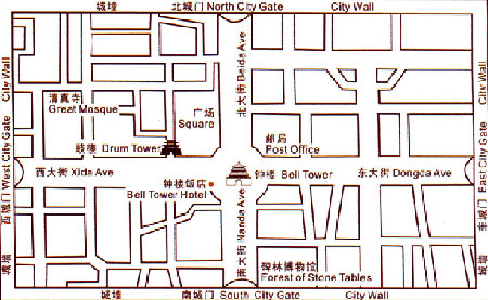 Bell Tower Hotel, Xian Map