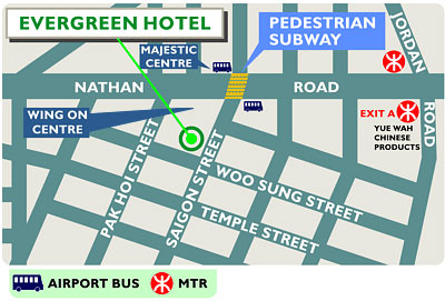 Evergreen Hotel, Hong Kong Map