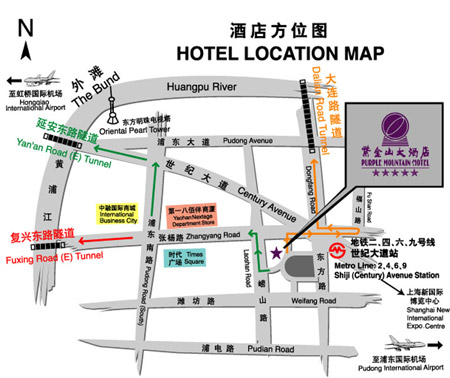 Purple Mountain Hotel, Shanghai Map
