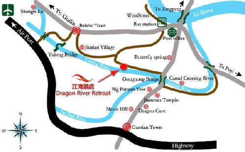 Yangshuo Dragon River Retreat Map